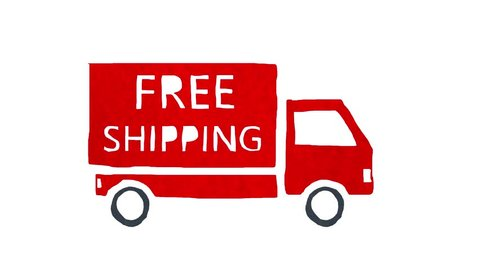 Truck with FREE SHIPPING written on it driving on pure white background. Cartoon stop motion animation.