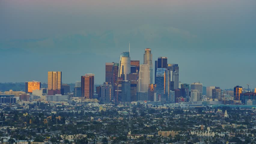 4K video of sunset classical view of Los Angeles Downtown at Kenneth State Park | Shutterstock HD Video #23724445