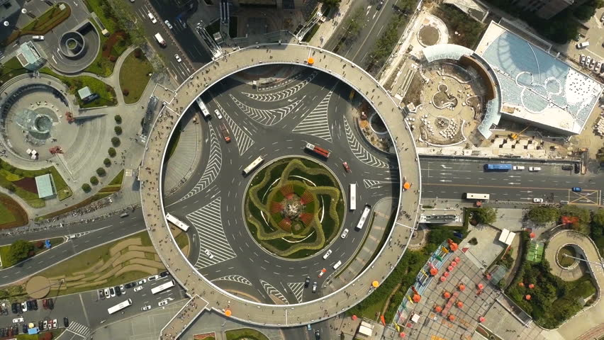 Drone shot of a roundabout in Shanghai, China, around