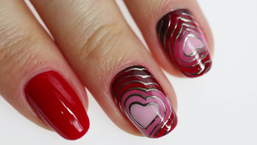 Stock Video Of Beauty Hand With Heart Nail Art 23752225 Shutterstock