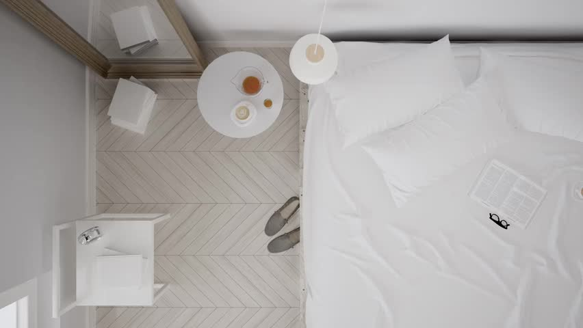 Scandinavian classic white bedroom, top view, interior walk through, steady cam, minimalistic design, 3d illustration