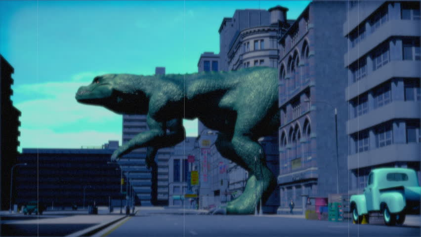 Vintage Monster: Giant Dinosaur in the City (Color)