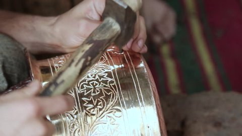 Designing copper utensils, the age old art of crafting copper wares, Crafting life in Kashmir India.