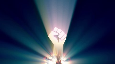 Clenched Fist the symbol of the Revolution rises from the burning embers and fire of a globe. The symbol throws out light from within to create light beams