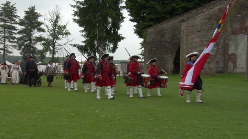 STAFFARDA, ITALY - CIRCA 2012: Reenactment of the battle fought during Nine Years' War in Piedmont-Savoy (northern Italy) on 18 August 1690. It was a victory for the French commander against the Duke of Savoy.