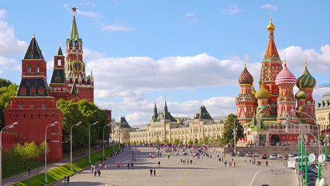 Moscow Red Square, St Basil's Cathedral and Kremlin view from river side.