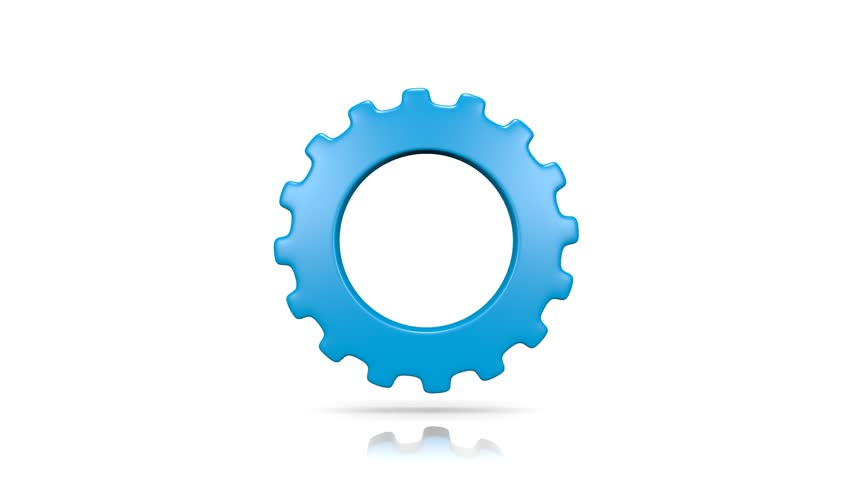 One Single Blue Gear Rotating on White Background 3D Seamless Loop Animation