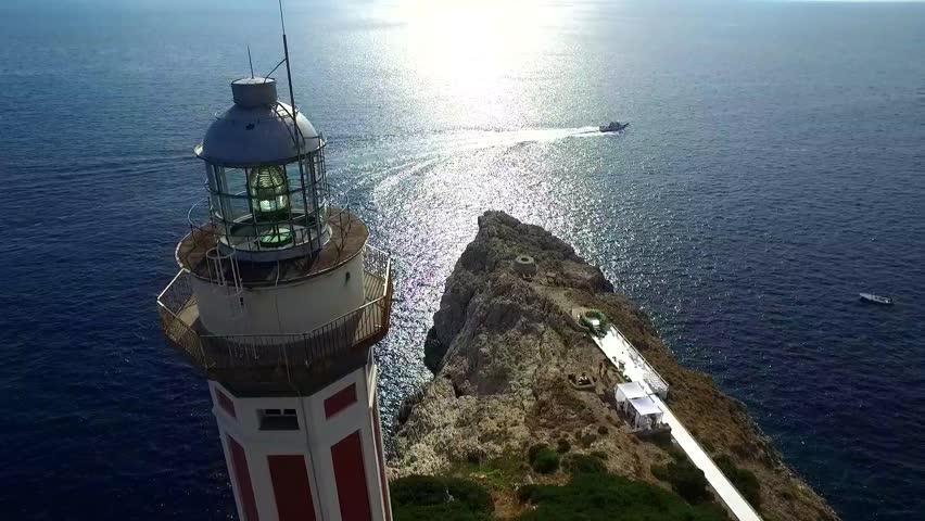 Punta Carena lighthouse, Capri, Italy Aerial video