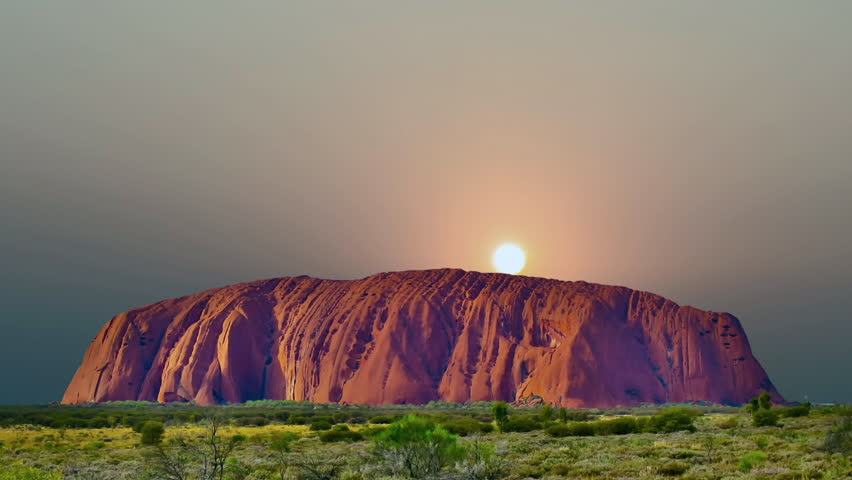 High-quality, cinematic sunrise of the sacred mountain Uluru in Australia. | Shutterstock HD Video #23917285