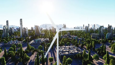 Wind turbine. futuristic city, town. The concept of the future. Aerial view. Super realistic 4k animation.