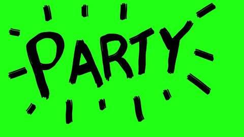 Handmade PARTY word doodle animation. Green screen chroma key background to easily match your project.