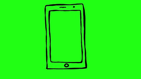 Handmade smartphone or tablet doodle animation. Green screen chroma key background to easily match your project.