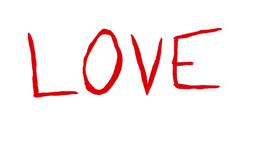 Handmade Red Love Word Doodle Animation Pure White Background