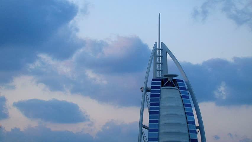 Dubai - Circa 2012: The Burj al Arab hotel in 2012. The famous Burj