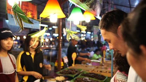 PHUKET, THAILAND - FEBRUARY 13, 2017: Street food: selling fried insects at night food market Phuket, Thailand.
