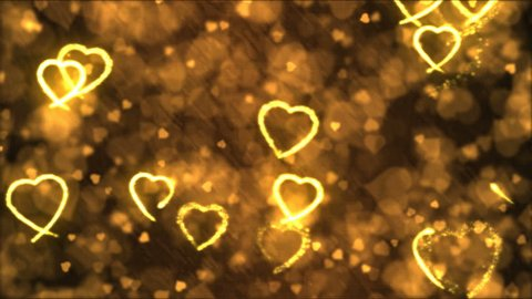 Drawing Heart Shapes Motion Background Animation - Loop Golden