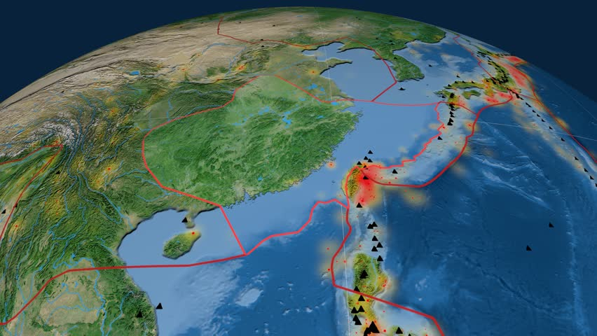 Yangtze tectonics featured. Satellite imagery. Plate extruded and animated against the globe. Tectonic plates borders (newest division), earthquakes by strength & volcanic cones | Shutterstock HD Video #23960095