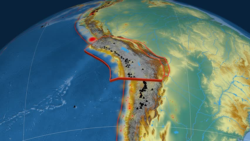 Altiplano tectonics featured. Relief. Plate extruded and animated against the globe. Tectonic plates borders (newest division), earthquakes by strength & volcanic cones | Shutterstock HD Video #23961526