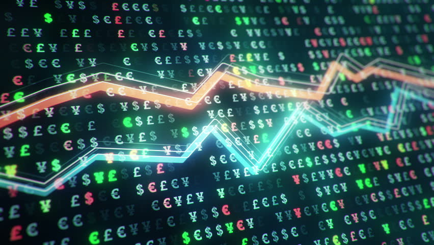 Technological background with growth of charts and graphs on binnary code backdrop. Symbols of business or finance with glowing glass surface. Seamless loop. | Shutterstock HD Video #23970295