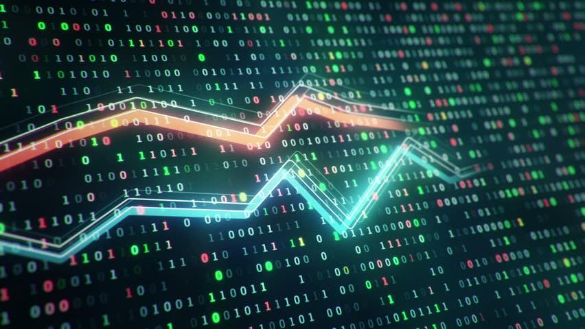 Technological background with growth of charts and graphs on binnary code backdrop. Symbols of business or finance with glowing glass surface. Seamless loop. | Shutterstock HD Video #23970337