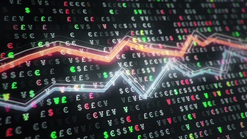Technological background with growth of charts and graphs on binnary code backdrop. Symbols of business or finance with glowing glass surface. Seamless loop. | Shutterstock HD Video #23970403