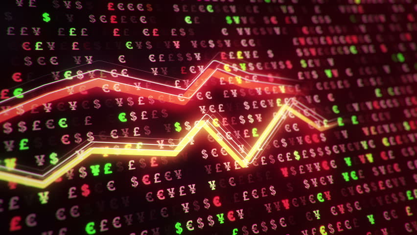 Technological background with growth of charts and graphs on binnary code backdrop. Symbols of business or finance with glowing glass surface. Seamless loop. | Shutterstock HD Video #23970733