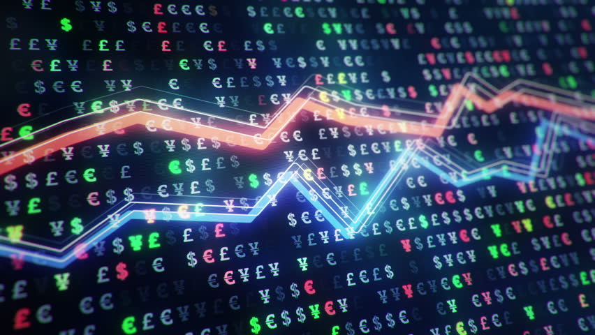 Technological background with growth of charts and graphs on binnary code backdrop. Symbols of business or finance with glowing glass surface. Seamless loop. | Shutterstock HD Video #23971822