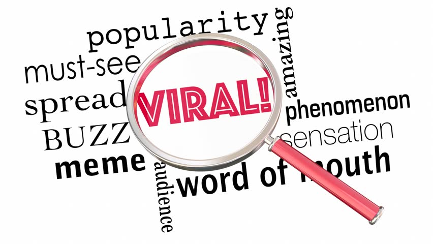 Viral Popularity Spreading Buzz Words Magnifying Glass 3d Animation