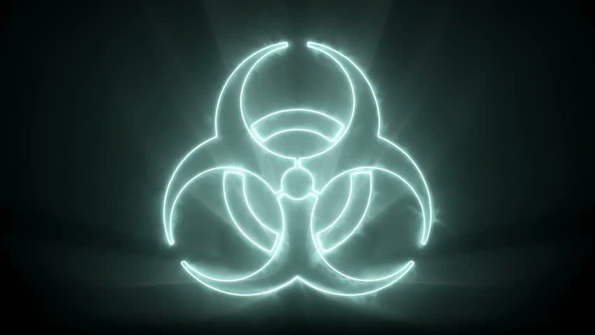 Biohazard Sign with a smoke / glow effect, slowly zoom in and out