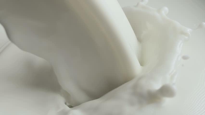 Flow Pouring Milk Splash With Bubbles Slow Motion
