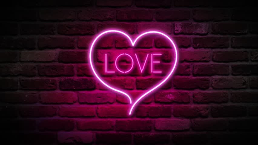 Glowing Neon Hearts Seamless Loop Background Stock Footage