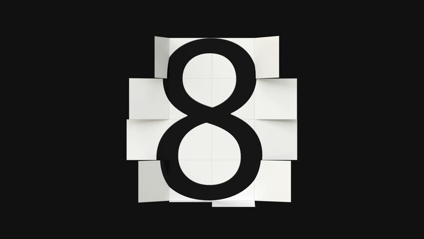 Black digits on white tiles counter. Animation with black and white mask included.