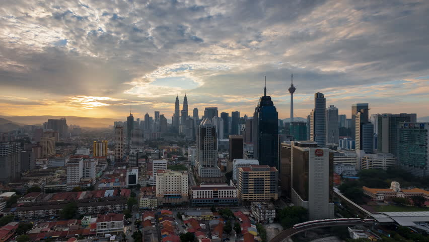 Time lapse: Kuala Lumpur city view during dawn overlooking the city skyline | Shutterstock HD Video #24082570
