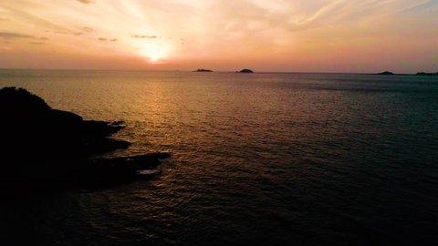 Aerial : Battleship Island in Nagasaki with golden sunset
