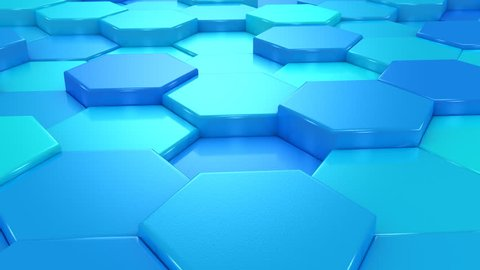 Animated Blue Honeycombs. Abstract background, loop, created in 4K, 3d animation