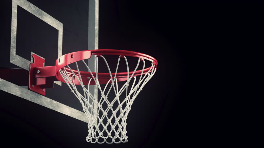 Throw In A Basketball Hoop On A Black Background, The Ball Hits ...
