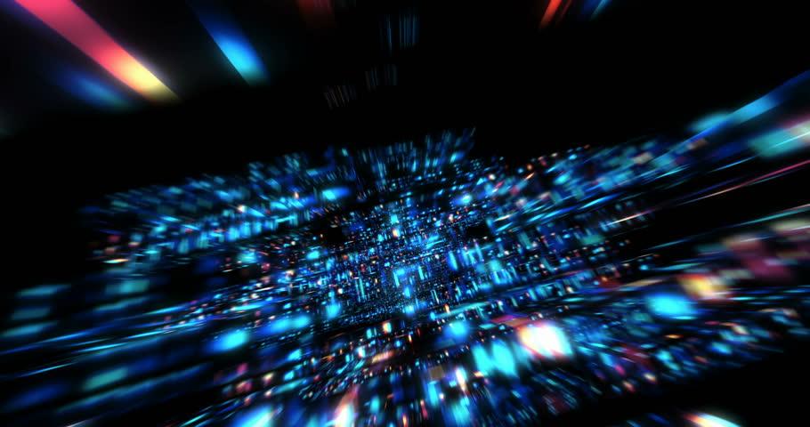 Streaming Digital Data Forms Flicker, Shift And Pulse (Loop ...