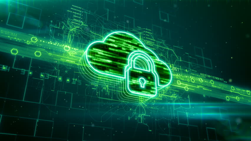 Abstract animation of locked cloud server icon in digital cyberspace | Shutterstock HD Video #24205465