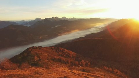 Sunrise Mountain Hike in Styria Austria // Beautiful foggy morning in the styrian mountains // 4K Aerial drone Flight