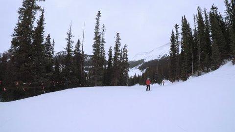 Alpine skiing at Arapahoe Basin ski resort.