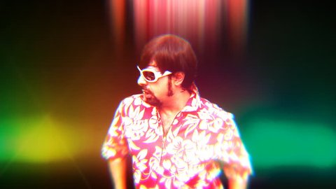 A crazy DJ dancing whilst in the midde of an acid trip on the dance floor. Medium shot. Bizarre silly weirdo.