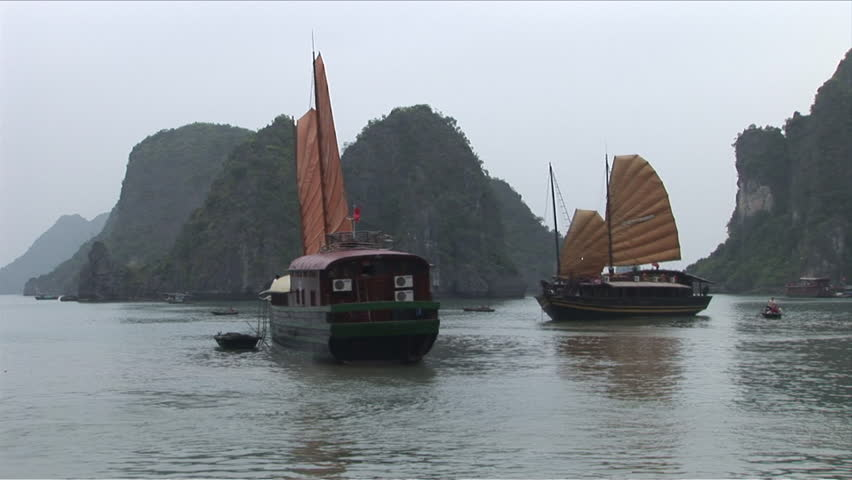 View of Junk boats in Ha Long Bay Vietnam