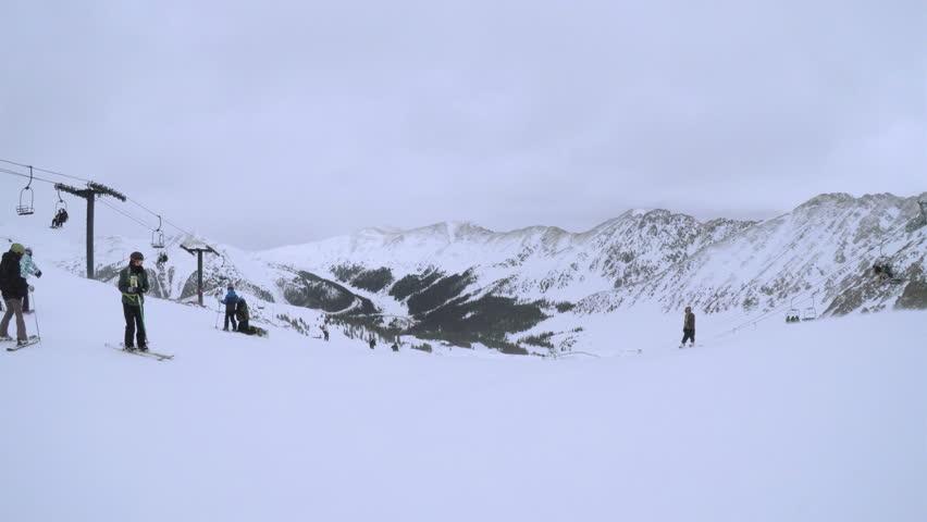 Denver, Colorado, USA-February 11, 2017. Alpine skiing at Arapahoe Basin ski resort. | Shutterstock HD Video #24241325
