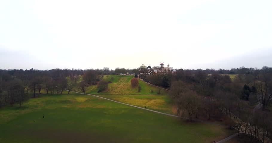 Aerial view of Greenwich Observatory from Greenwich Park 4K