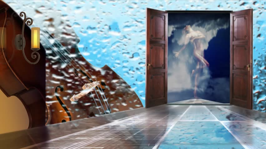 Abstract Background For Creative Workthe Cloudscello Raindrops Flow Down The Glass