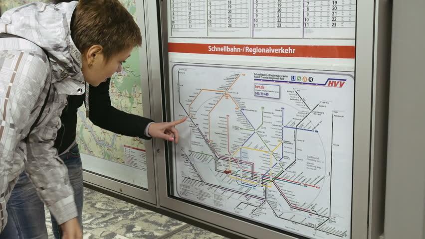Hamburg Germany October Two Women Looking At Subway - Germany underground map