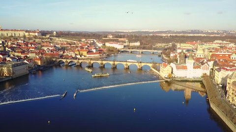 Aerial view of Prague city and Prague castle and River Vitava at day.