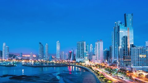 city of panama time lapse from night ot day aerial panoramic view