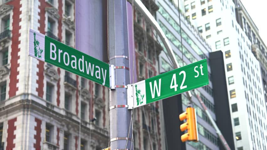 Broadway street sign, slider shot - New York City, Manhattan