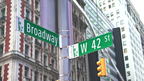 Broadway street sign, slider shot - New York City, Manhattan